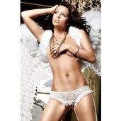White Mesh Lace Crotchless Panty